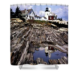 The Reflection At Pemaquid Shower Curtain by Skip Willits