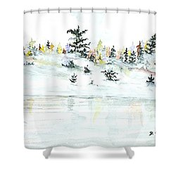 Shower Curtain featuring the painting The Reflection Lake by Darren Cannell