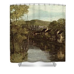 The Reflection Of Ornans Shower Curtain by Gustave Courbet