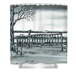 The Rematch Shower Curtain by Kenneth Clarke