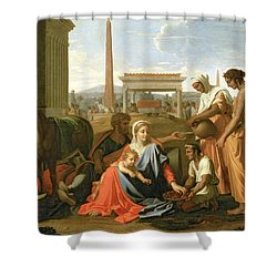 The Rest On The Flight Into Egypt Shower Curtain by Nicolas Poussin