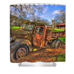 The Resting Place 2 Boswell Farm 1947 Dodge Dump Truck Shower Curtain by Reid Callaway
