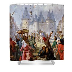 The Return Of Saint Louis Blanche Of Castille To Notre Dame Paris Shower Curtain by Pierre Charles Marquis