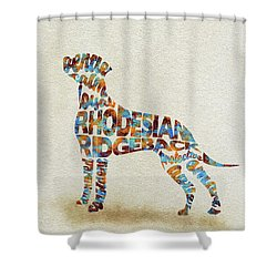 Shower Curtain featuring the painting The Rhodesian Ridgeback Dog Watercolor Painting / Typographic Art by Inspirowl Design
