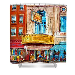 Shower Curtain featuring the painting The Rialto Theatre Montreal by Carole Spandau