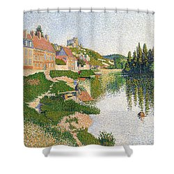 The River Bank Shower Curtain by Paul Signac