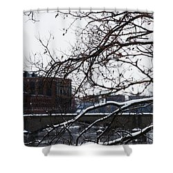 The River Divide Shower Curtain by Linda Shafer