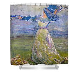 The River Is Here Shower Curtain