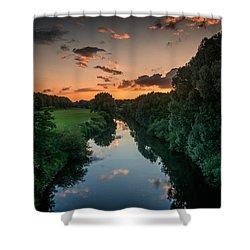 The River Lippe In Lower Rhine Region Shower Curtain