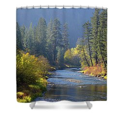 The River Runs Through Autumn Shower Curtain