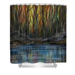 Shower Curtain featuring the digital art The River Side by Darren Cannell