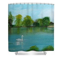 The River Thames At Shepperton Shower Curtain by Carole Robins