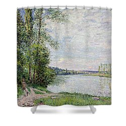 The Riverside Road From Veneux To Thomery Shower Curtain by Alfred Sisley