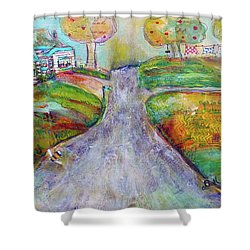 Shower Curtain featuring the painting The Road Home by Claire Bull