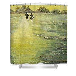 The Road In The Ocean Of Light Shower Curtain by Karina Ishkhanova