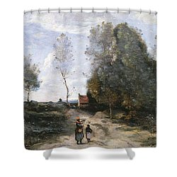 The Road Shower Curtain by Jean Baptiste Camille Corot