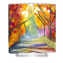 The Road Less Traveled Shower Curtain by Jessilyn Park