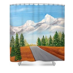 Shower Curtain featuring the painting The Road To Lake Louise by Ellen Canfield