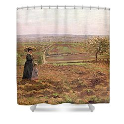The Road To Rouen Shower Curtain by Camille Pissarro