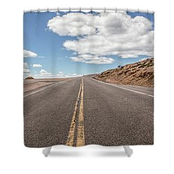 The Road Up Pikes Peak At Around 12,000 Feet Shower Curtain
