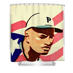 The Roberto Clemente  Shower Curtain by Lanjee Chee