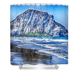 The Rock At Morro Bay Large Canvas Art, Canvas Print, Large Art, Large Wall Decor, Home Decor, Photo Shower Curtain by David Millenheft