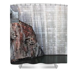 The Rock Behind The Dam Shower Curtain by Natalie Ortiz