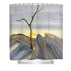 Shower Curtain featuring the painting The Rock Garden by Pat Purdy