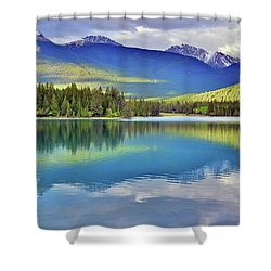 Shower Curtain featuring the photograph The Rockies Reflected In Lake Annette by Tara Turner