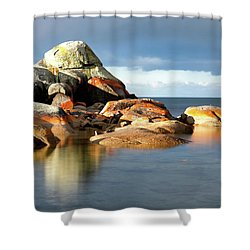 Shower Curtain featuring the photograph The Rocks And The Water by Nicholas Blackwell