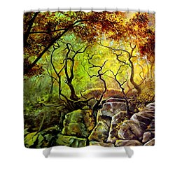 Shower Curtain featuring the painting The Rocks In Starachowice by Henryk Gorecki