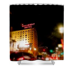 Shower Curtain featuring the photograph The Roosevelt Hotel By David Pucciarelli  by Iconic Images Art Gallery David Pucciarelli