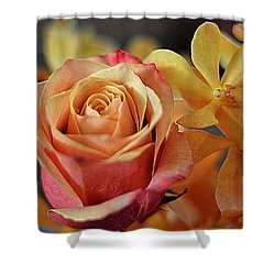 Shower Curtain featuring the photograph The Rose And The Orchid by Diana Mary Sharpton