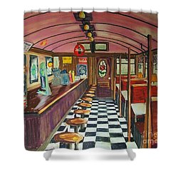 The Rose Diner Shower Curtain