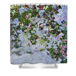 The Roses Shower Curtain by Claude Monet