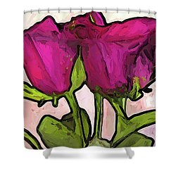 The Roses With The Green Stems And Leaves Shower Curtain