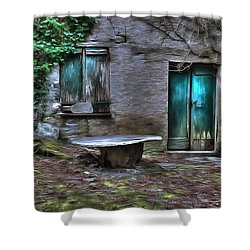 The Round Table House In The Abandoned Village Of The Ligurian Mountains High Way Shower Curtain
