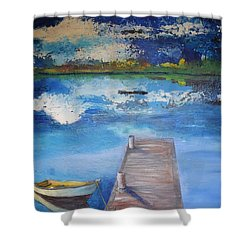 Shower Curtain featuring the painting The Rowboat by Gary Smith