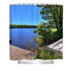 Shower Curtain featuring the photograph The Rowboat On West Lake by David Patterson