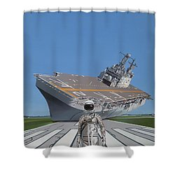 Shower Curtain featuring the painting The Runway by Scott Listfield