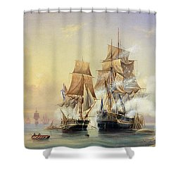 The Russian Cutter Mercury Captures The Swedish Frigate Venus On 21st May 1789 Shower Curtain by Aleksei Petrovich Bogolyubov
