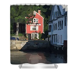 The Sacred Cod And Beacon Marine Shower Curtain by Melissa Abbott