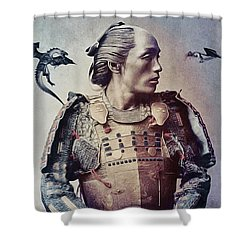 The Samurai And The Dragons Shower Curtain by Susan Maxwell Schmidt
