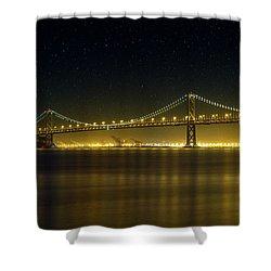 The San Francisco Oakland Bay Bridge At Night Shower Curtain