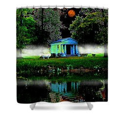 Shower Curtain featuring the digital art The Cemetery  by Michael Rucker