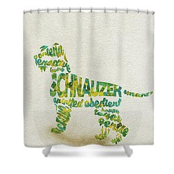 Shower Curtain featuring the painting The Schnauzer Dog Watercolor Painting / Typographic Art by Inspirowl Design