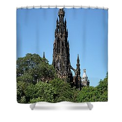 Shower Curtain featuring the photograph The Scott Monument In Edinburgh, Scotland by Jeremy Lavender Photography