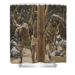 The Scourging On The Back Shower Curtain by Tissot