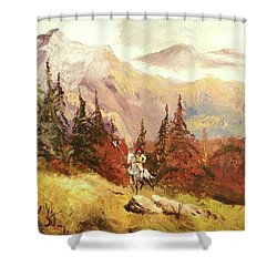 Shower Curtain featuring the painting The Scout by Alan Lakin