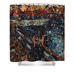 Shower Curtain featuring the mixed media The Scream After Edvard Munch by Joshua Redman